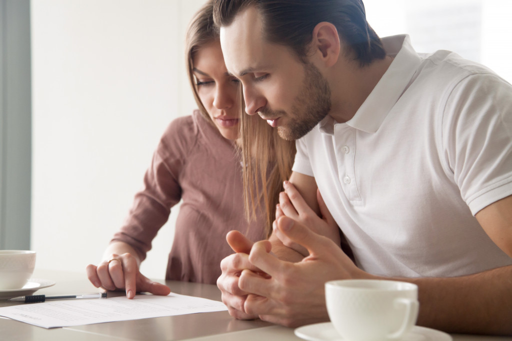 couple checking finances