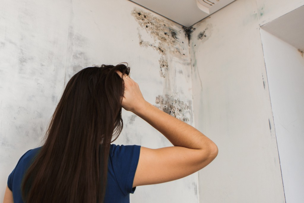 woman troubled about the damaged wall