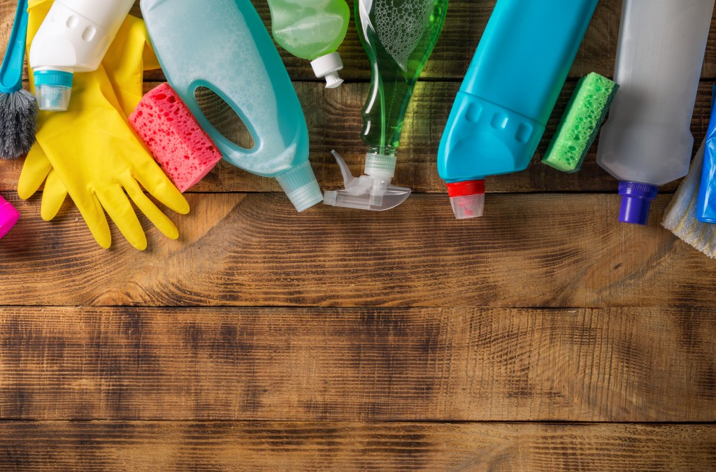 gloves and cleaning products