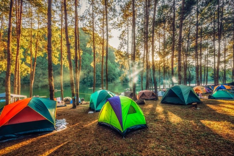 camping site with tents