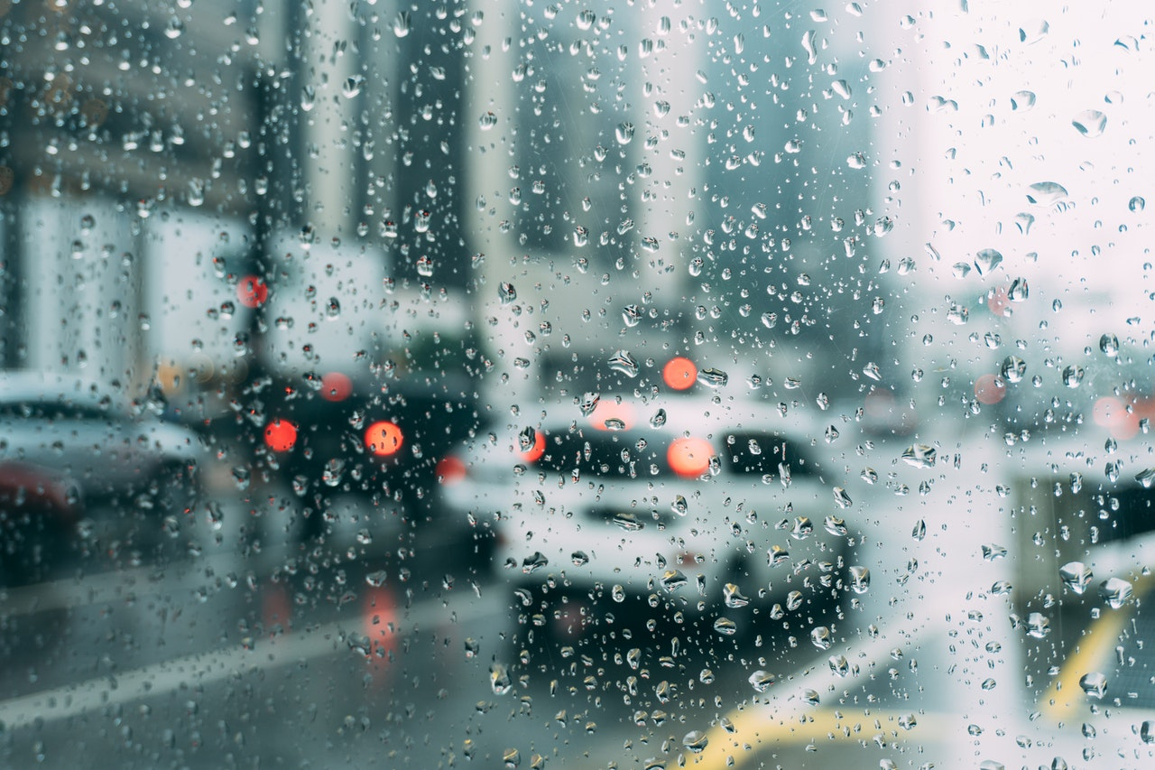 rainy day from inside a car