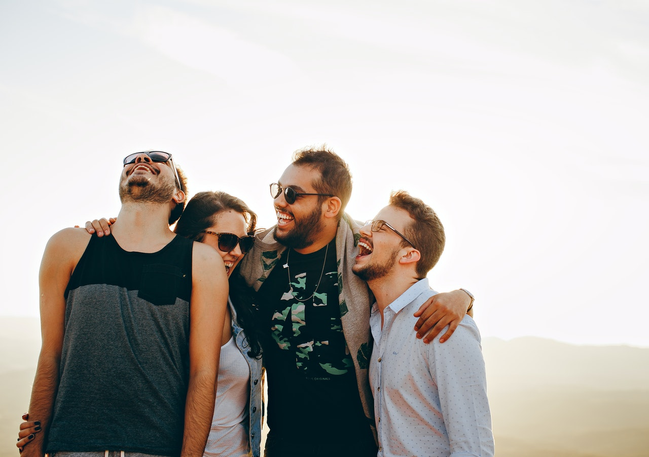 group of friends happy and smiling