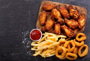 chicken fries and onion rings