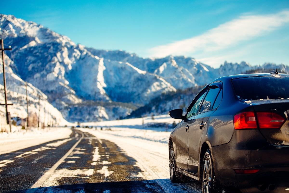 car in a snowy road