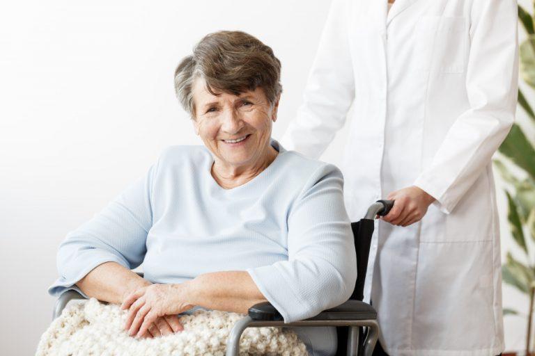 elderly on a wheel chair
